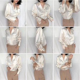 Blouse pure silk-satin blus kemeja shirt dress