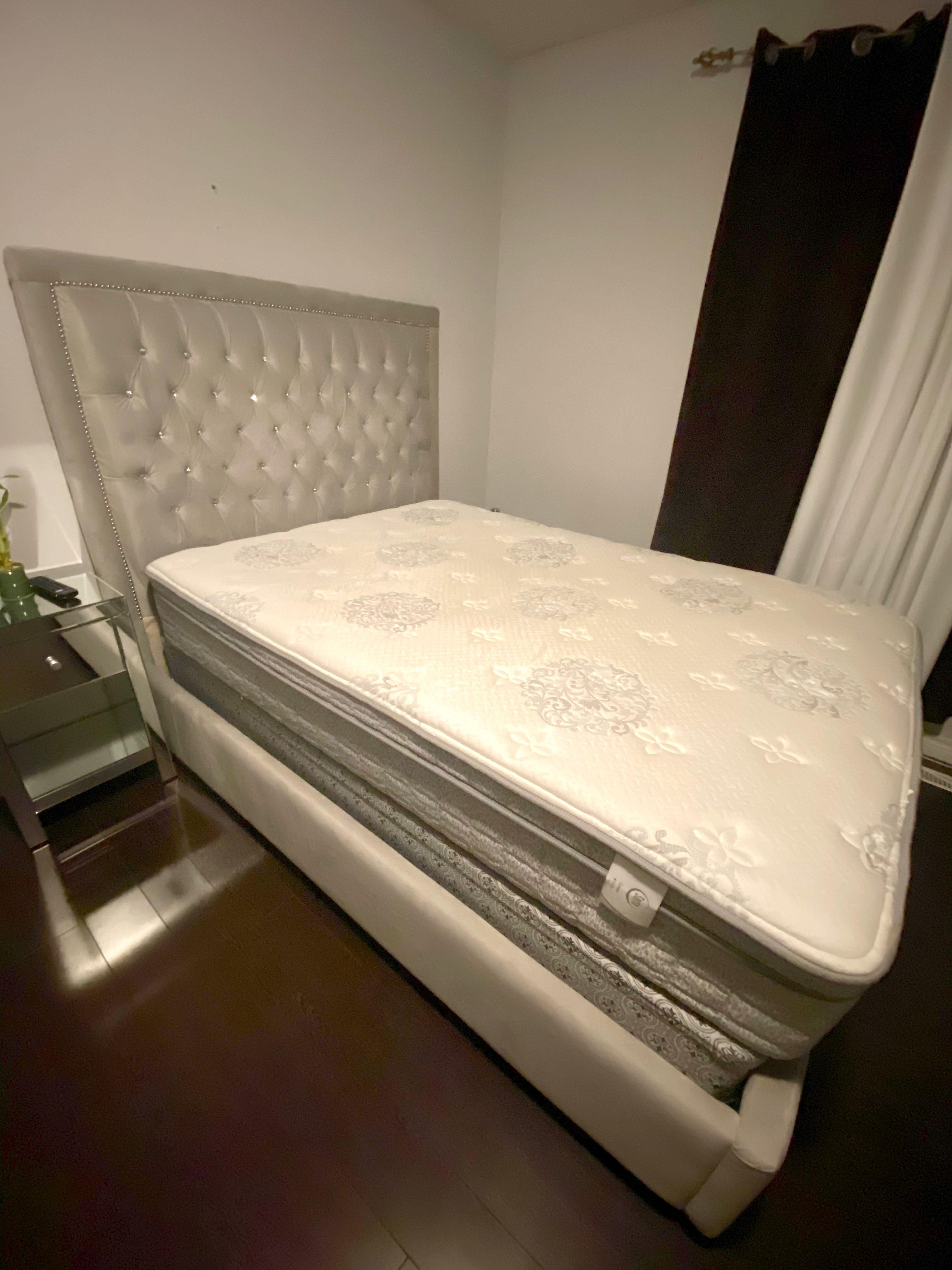 Custom made bed frame w/ mattress & box spring