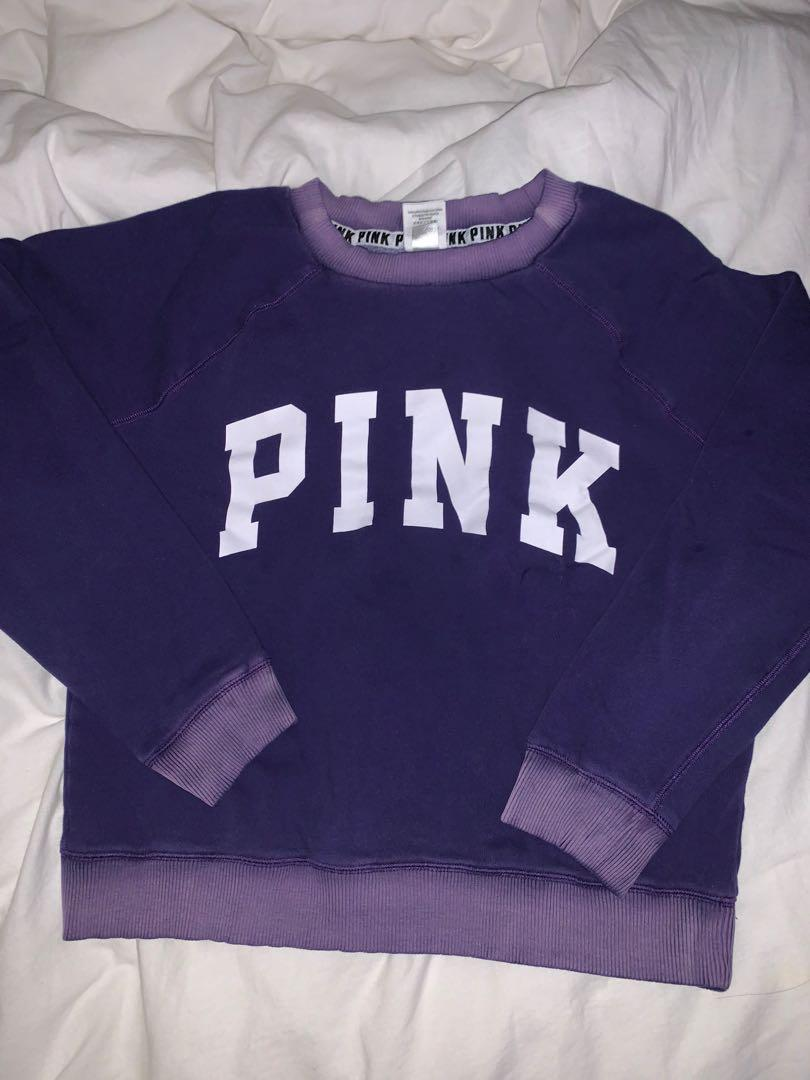 PINK crewneck, purple washed sz xs