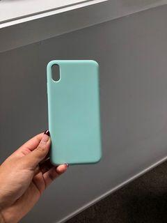 teal silicone iPhone X plus case