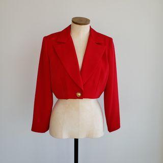 Vintage Red Cropped Blazer