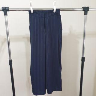 韓製條紋鬆緊西裝褲