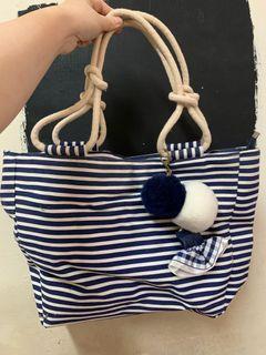 海軍藍條紋手提包