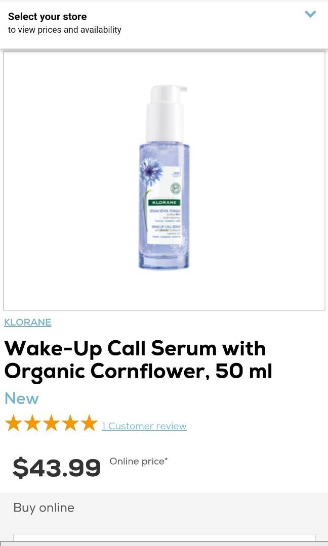 Klorane Wake Up Call Serum Organic Cornflower