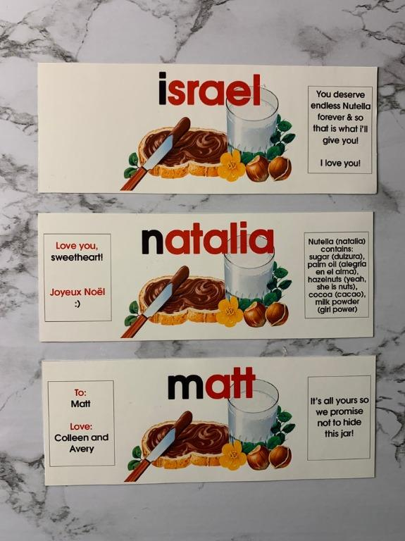 Nutella Label anything you want written on - Great Gift