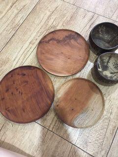 Piring Kayu dan Bowl batok Kelapa