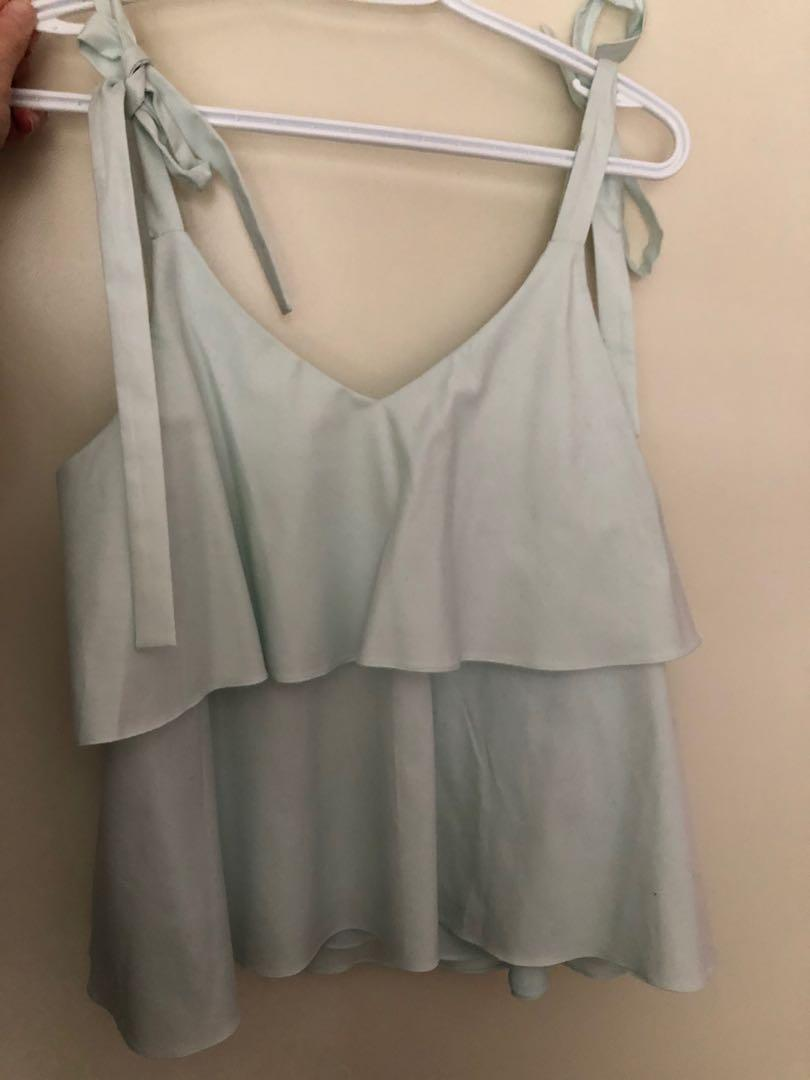 Prose & Poetry mint ruffle top