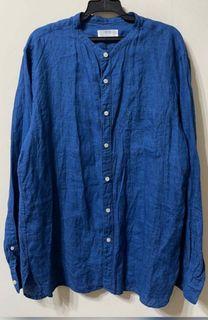 UNIQlo亞麻無領,立領,亨利領牛仔藍休閒襯衫