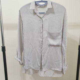 Zara緞布長版襯衫#口袋#顯瘦#氣質