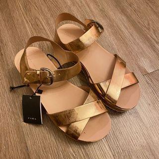 Zara香檳金涼鞋 厚底鞋 全新