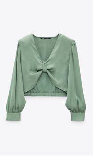 Zara satin crop shirt