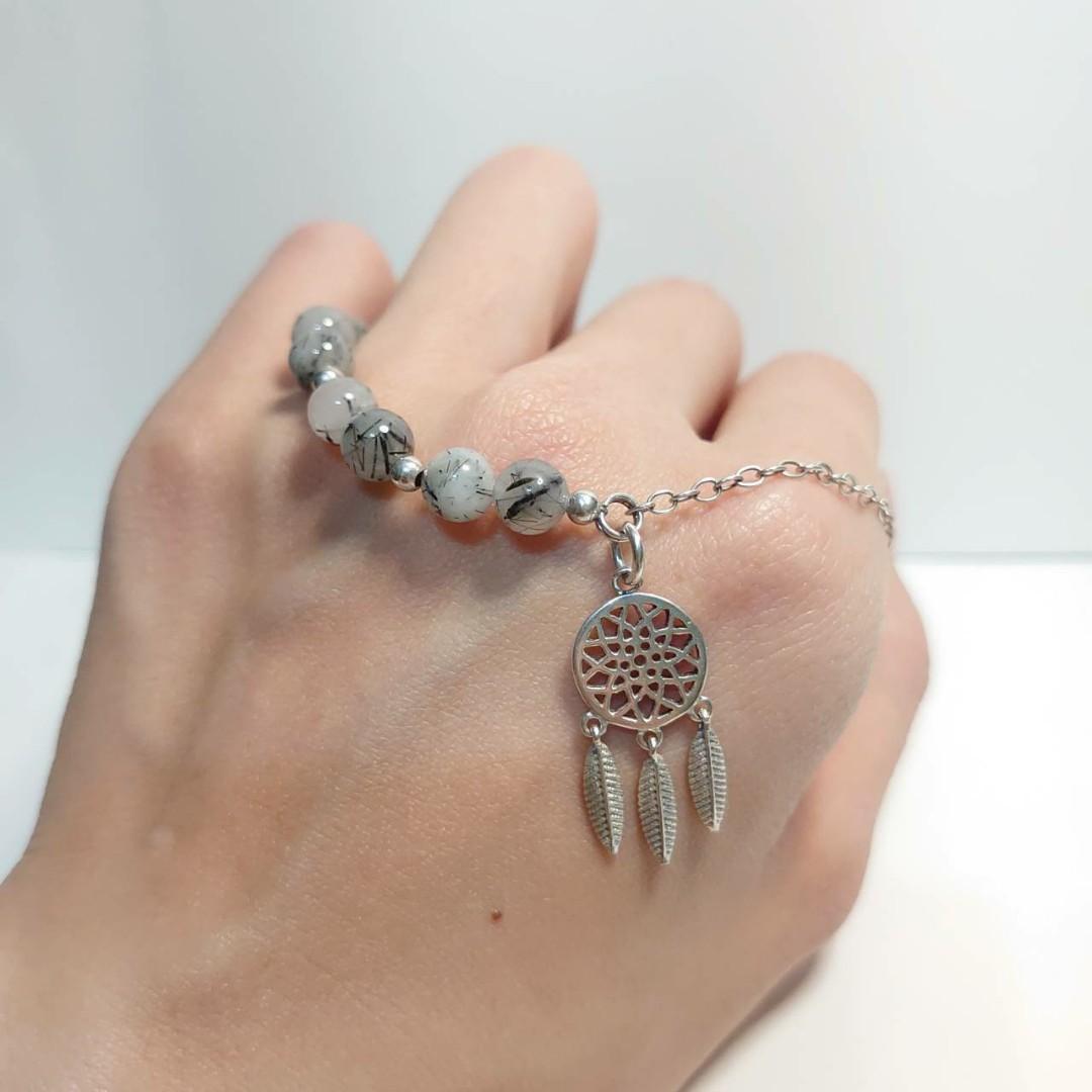 925純銀 串珠半鍊  黑髮晶手鏈