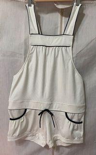#夏之戀 白色金蔥條紋#泳裝 連身褲