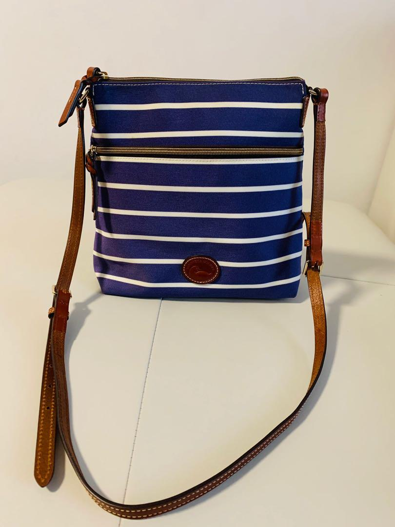 Authentic Dooney & Bourke Striped Canvas Crossbody Bag