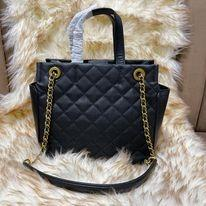 C•KEITH QUILTED MED TWO WAY CHAIN BAG - BLACK