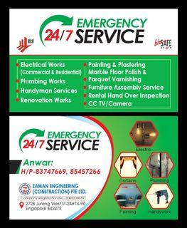 Electrical @ Plumbing  24/7 All kinds of home Reapir work .
