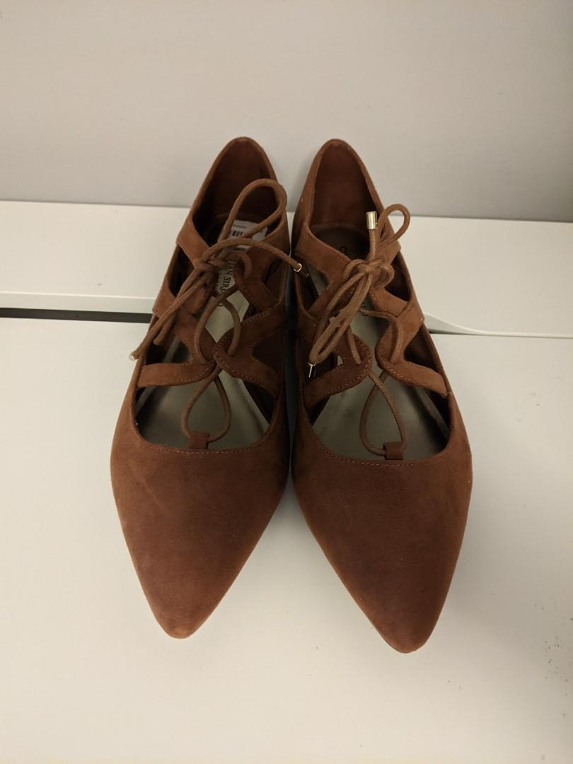 Faux suede point tow lace-up flats (12)