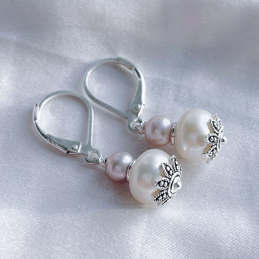 Handmade Sterling Silver Cultured Pink and White Pearl Earrings