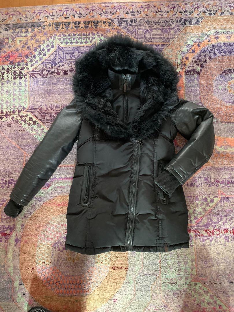 Rudsak GRACE jacket - Black  fur with leather sleeves, Size: L