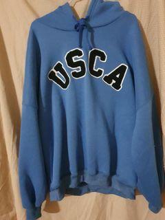 僅試穿USCA英字藍連帽上衣