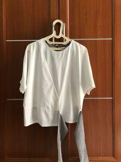 White Houndstooth Blouse