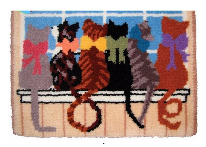 6 Cats Rug Latch Hooking Kit (52x38cm)