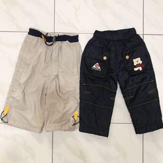 兩件組-秋冬款 Giordano 刷毛 防風男童長褲