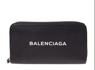Balenciaga 黑色牛皮ㄇ拉長夾