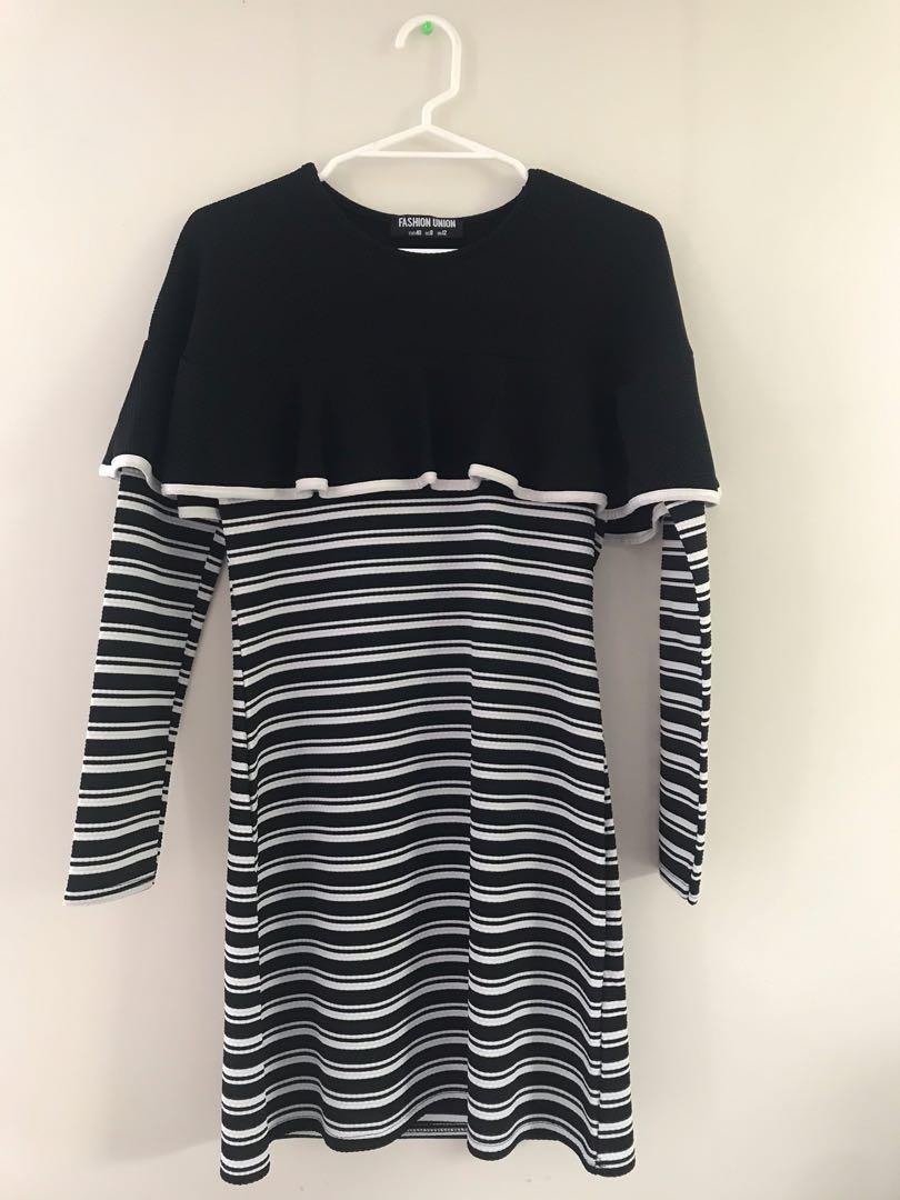 [Fashion Union] Black & white knee-length bodycon dress