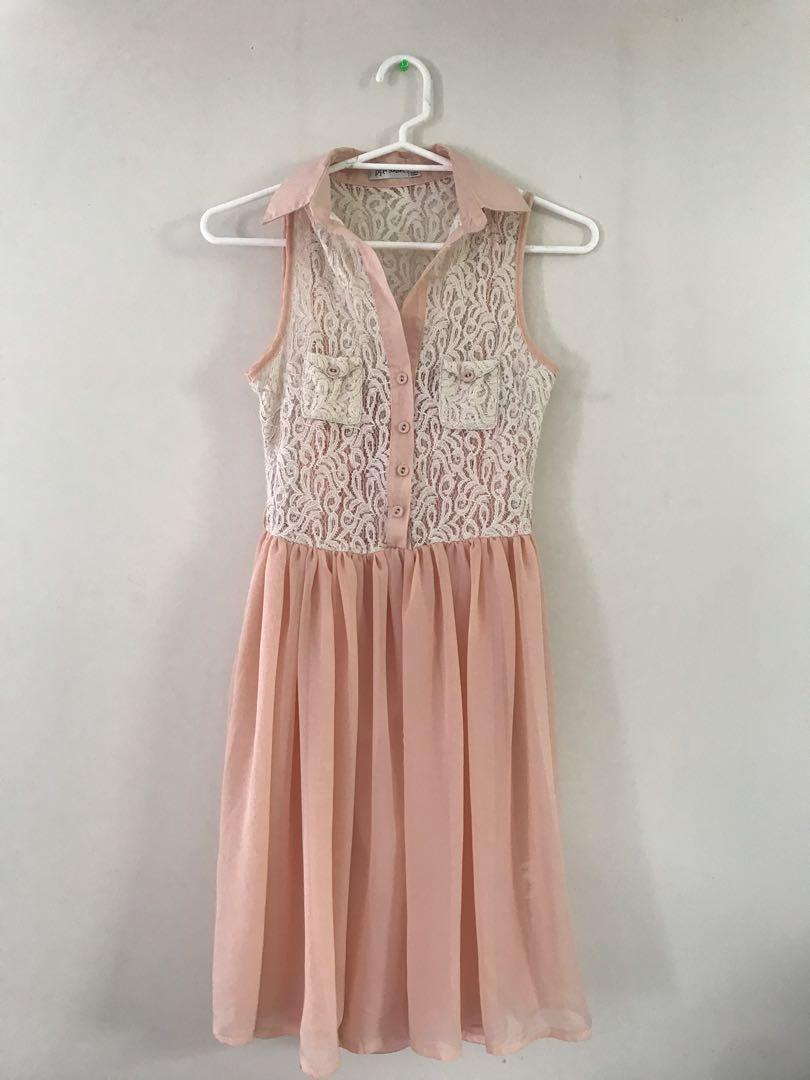 [Paperscissors] lace peach knee-length dress