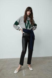 ZARA Faux Leather Black Pants.