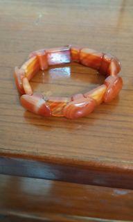 老件紅瑪瑙彈性繩手鍊