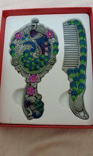 琺瑯鳳凰梳子+琺瑯鳳凰鏡