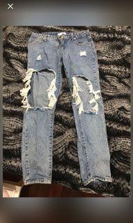 破壞牛仔褲 直筒 破洞 #年終