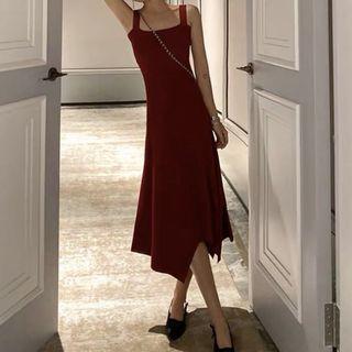免運🎉針織無袖不規則裙擺連身裙 洋裝 酒紅