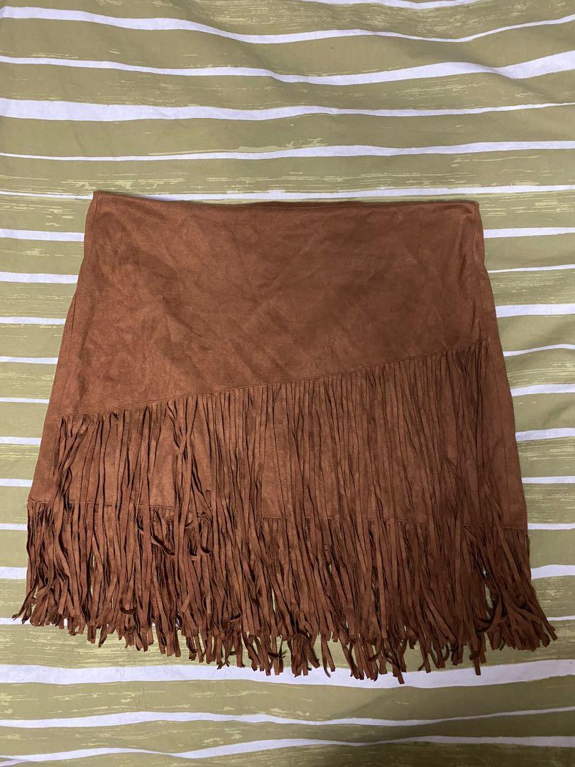 Brown Fringe Skirt