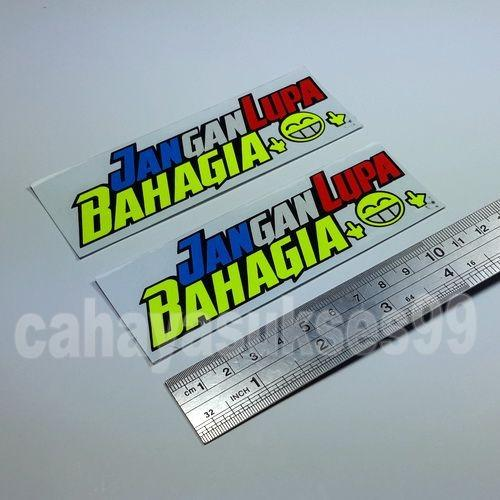 Cutting Sticker Motor Jangan Lupa Bahagia Size 12cm x 4cm 1set 2pcs Sticker Body Motor Stiker Reflective Stiker Helm