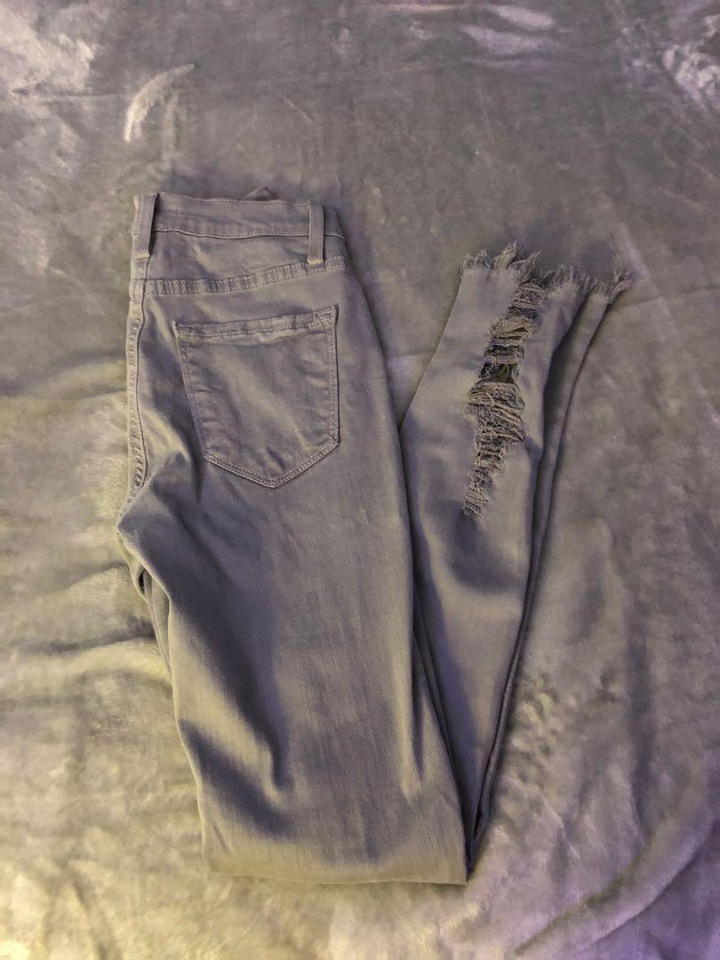 Fashion Nova grey ripped jeans