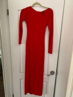 Guess red night dress with open back in size XS