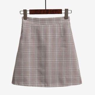 Khaki Plaid Skirt