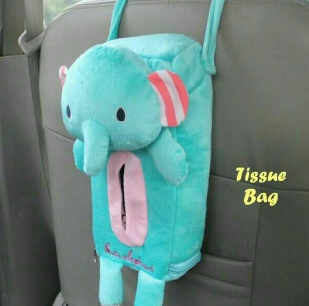 KOTAK TISU BONEKA UNTUK GANTUNGAN JOK MOBIL AKSESORIS MOBIL LUCU CAR TISSUE BOX DOLL ELEPHANT