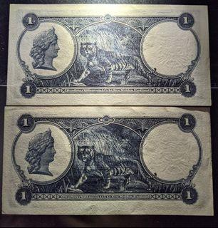 Straits settlements 1935 $1 Running UNC pair