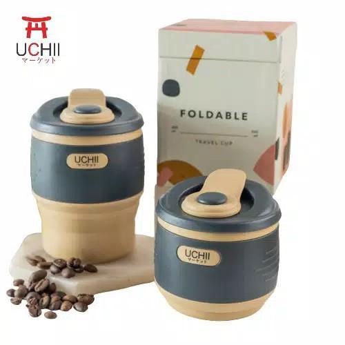 UCHII Silicone Foldable Travel Coffee Cup Tumbler Gelas Kopi Lipat Choco