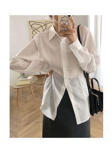 白色|霧霾藍|小尖領前縫線襯衫