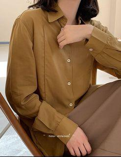 姜黃色| 小尖領前縫線襯衫