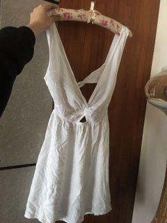 Asos 英國 露背 性感 洋裝 V領 純白