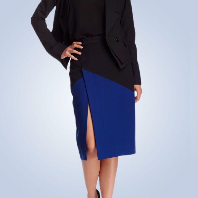 BCBG colour block skirt navy blue and black