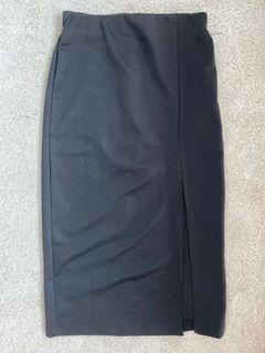 Black Skirt Rok Hitam with slit on the side