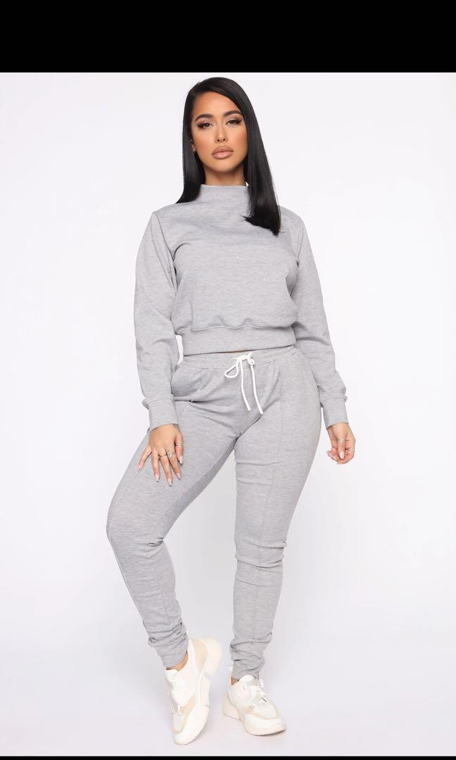 Fashion Nova Grey Tracksuit