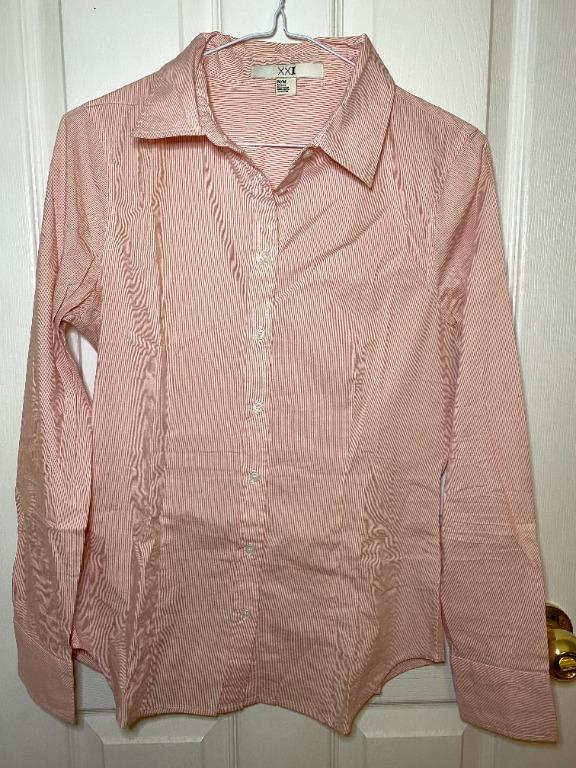 Forever21 Button Up Dress Shirt - Pink (size M)